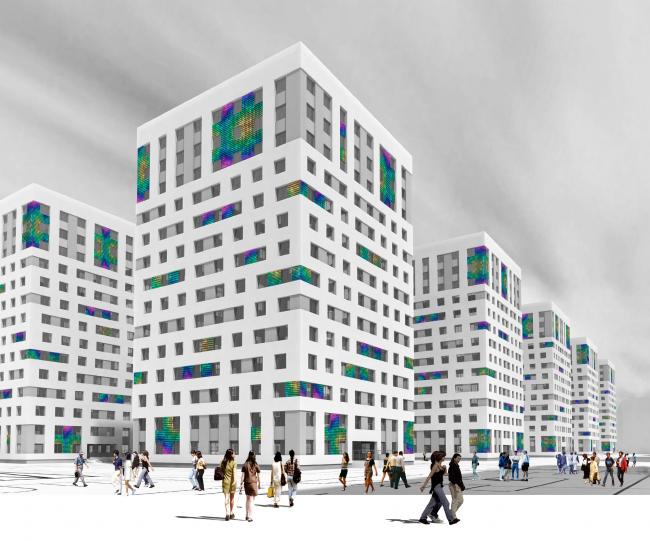 Конкурсный проект фасадов башен жилого комплекса на проспекте Медиков © Роман Пак. Изображение предоставлено архитектурной мастерской SPEECH