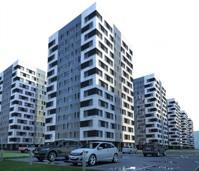 Конкурсный проект фасадов башен жилого комплекса на проспекте Медиков © Евгений Кицелев. Изображение предоставлено архитектурной мастерской SPEECH