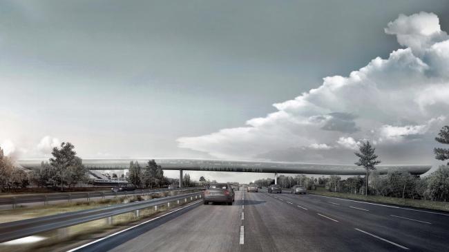Транспортный терминал над дорогой в Кёге. Проект COBE