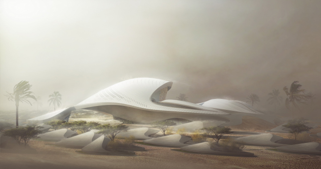 Штаб-квартира компании Bee'ah. Визуализация: MIR © Zaha Hadid Architects