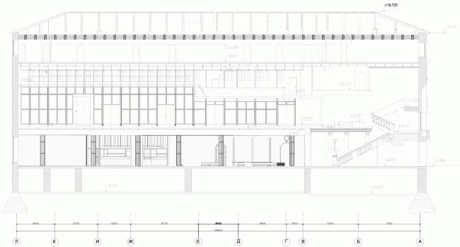 Строение 1, разрез. «Электротеатр Станиславский». 2014 © Wowhaus