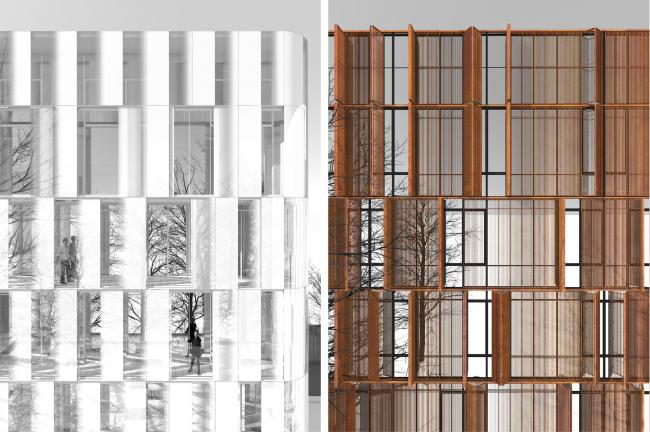 Фрагменты открытых фасадов © Сергей Скуратов ARCHITECTS