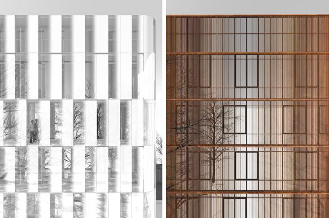 Фрагменты закрытых фасадов © Сергей Скуратов ARCHITECTS