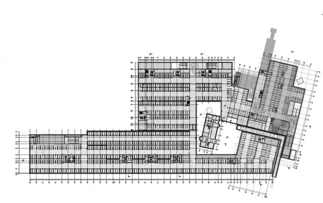 Проект многофункционального жилого комплекса на Павелецкой набережной. План -1 этажа © Архитектурное бюро Сергея Скуратова