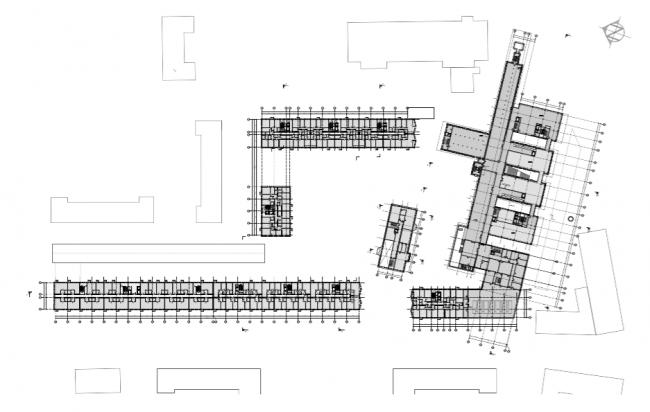 Проект многофункционального жилого комплекса на Павелецкой набережной. План 3 этажа © Архитектурное бюро Сергея Скуратова