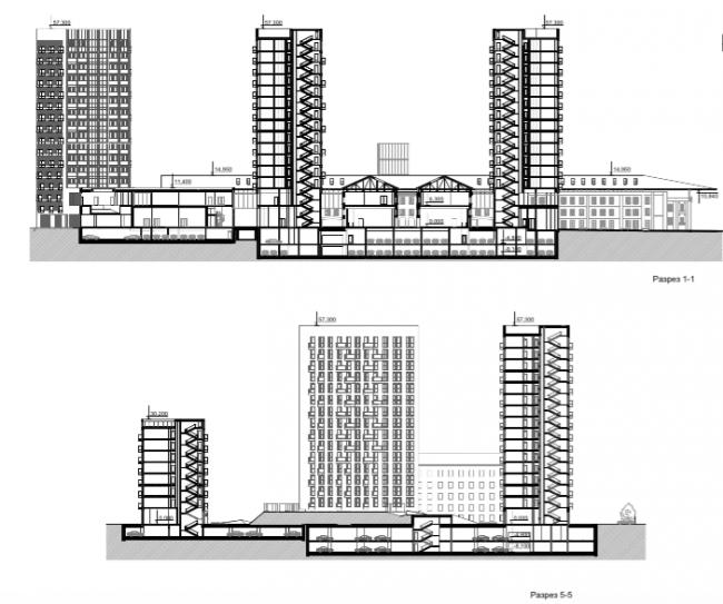 Проект многофункционального жилого комплекса на Павелецкой набережной. Разрезы © Архитектурное бюро Сергея Скуратова