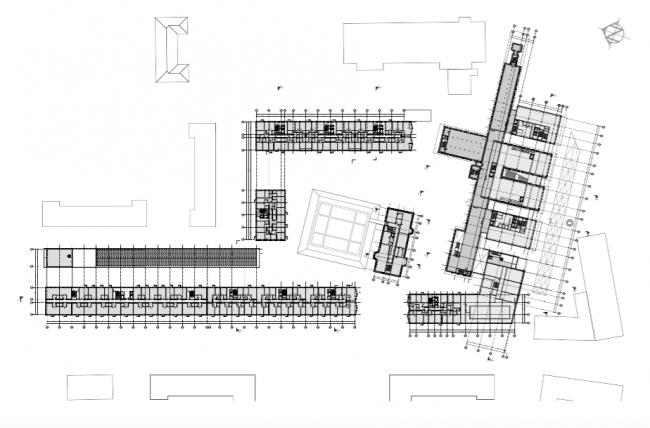 Проект многофункционального жилого комплекса на Павелецкой набережной. План 2 этажа © Архитектурное бюро Сергея Скуратова