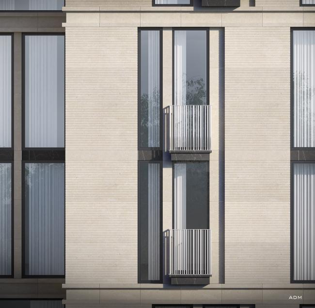 Многофункциональный жилой комплекс на Воробьевском шоссе. Фрагмент фасада. Проект, 2014. В процессе строительства © ADM