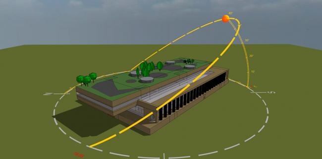 Трехмерная модель бассейна во взаимодействии с московскими климатическими условиями © Инженерное бюро Engex
