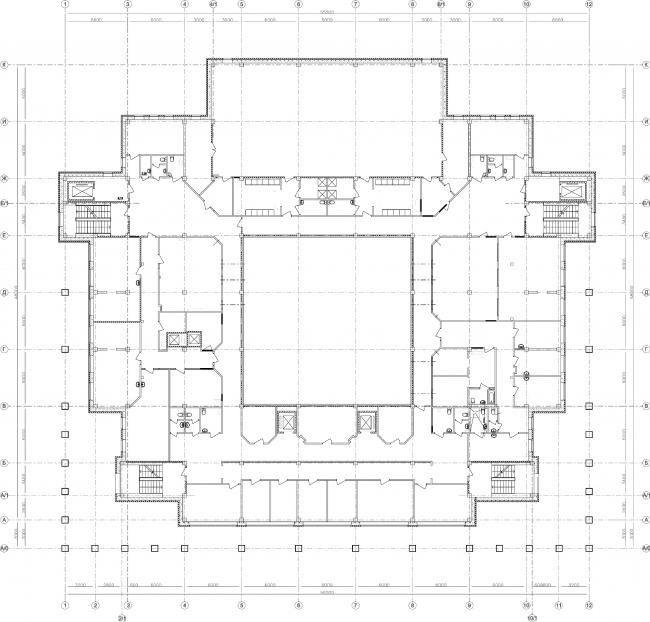 Центр социальной реабилитации инваидов и детей инвалидов. План 2 этажа. Постройка, 2010 © Архитектурная мастерская А.А. Столярчука