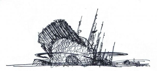 Концепция павильона Атомной Энергии на ВДНХ. Эскиз. Автор: Сергей Эстрин
