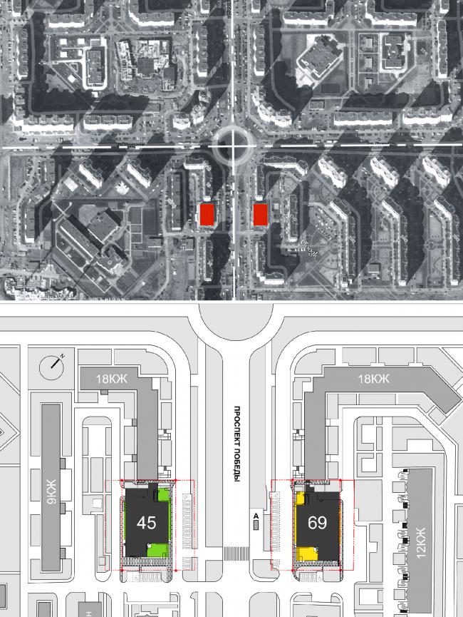 Магазины шаговой доступности «Стереопара». Ситуационный план. Генеральный план © Архитектурное бюро «Богачкин и Богачкин»