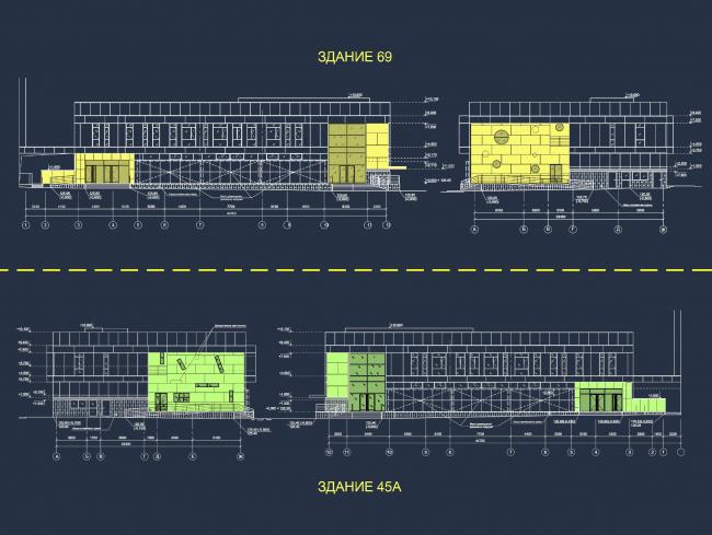 Магазины шаговой доступности «Стереопара». Разрезы © Архитектурное бюро «Богачкин и Богачкин»