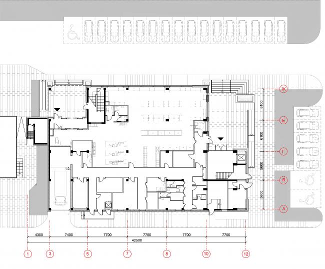 Магазины шаговой доступности «Стереопара». Здание № 45А. План 1 этажа © Архитектурное бюро «Богачкин и Богачкин»