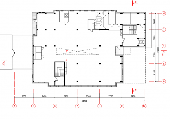 Магазины шаговой доступности «Стереопара». Здание № 69. План 2 этажа © Архитектурное бюро «Богачкин и Богачкин»