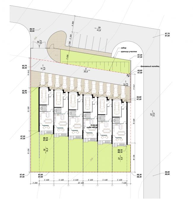 Таунхаус в поселке «Карпов пруд». Генеральный план, высотные отметки © Аксио