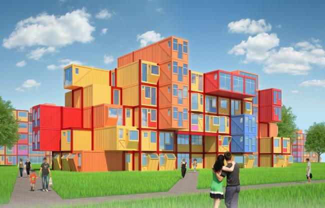 Общежитие для студентов «Трансформер». Главный перспективный вид © Кореньков Николай