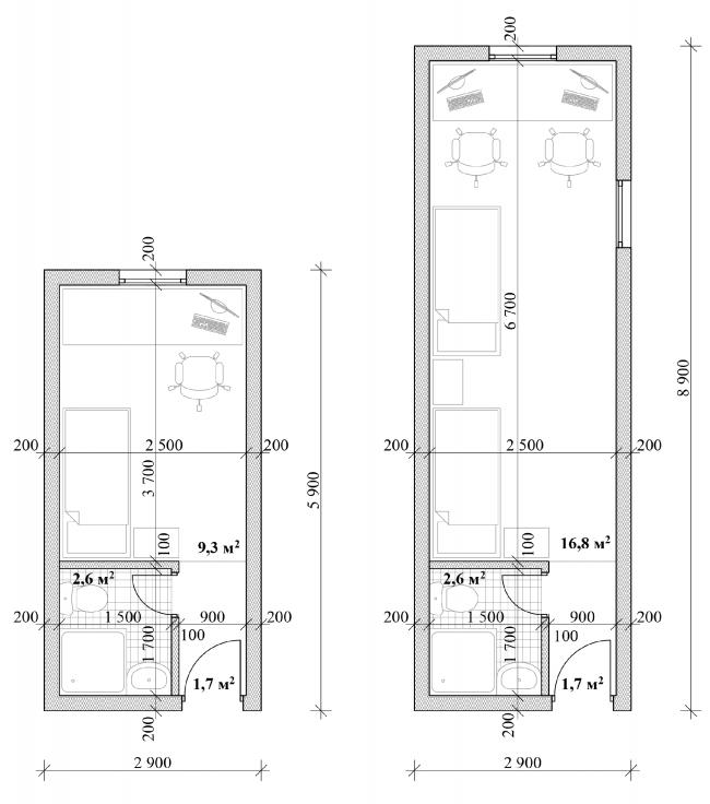 Общежитие для студентов «Трансформер». Планы типовых номеров © Кореньков Николай
