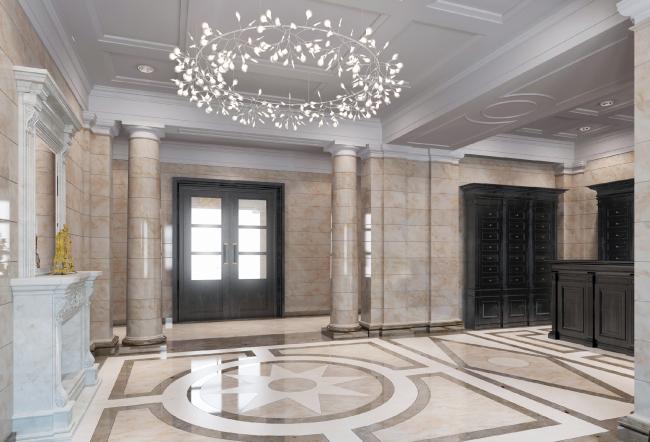 Многоквартирный дом со встроенными помещениями на Морском проспекте. Интерьер. Проект, 2014 © Евгений Герасимов и партнеры