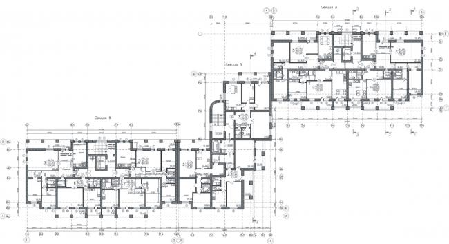Жилой дом №1 в г. Уфа. План типового этажа © ЗАО ПИ «Башкиргражданпроект»