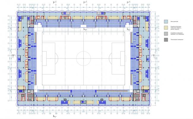 Многофункциональный комплекс футбольного стадиона «Спартак». План 2 этажа © ГрандПроектСити