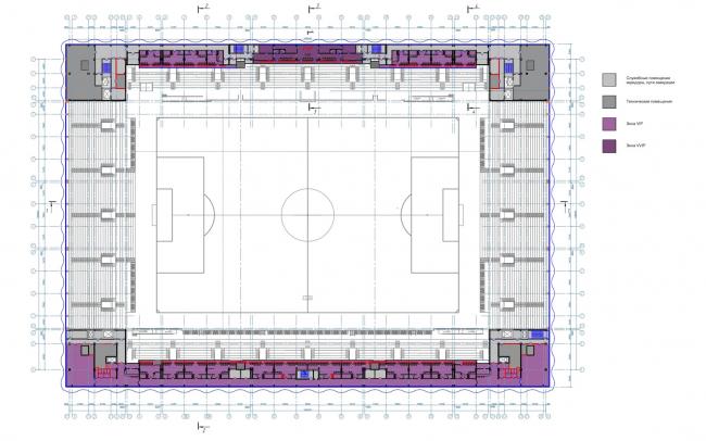 Многофункциональный комплекс футбольного стадиона «Спартак». План 3 этажа © ГрандПроектСити