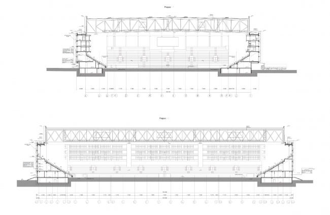 Многофункциональный комплекс футбольного стадиона «Спартак». Разрезы © ГрандПроектСити