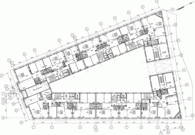 Многоквартирный дом со встроенными помещениями на Морском проспекте. Интерьер. Проект, 2014. План 2 этажа © Евгений Герасимов и партнеры