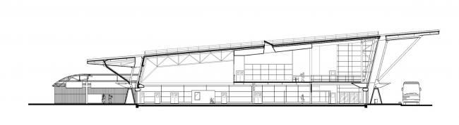 Морской пассажирский терминал. Вокзал №4 (круизный). Разрез © «А.Лен»
