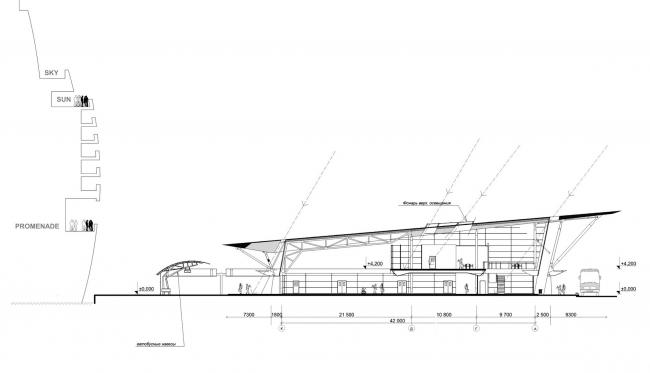 Морской пассажирский терминал. Вокзал №1 (круизный). Разрез © «А.Лен»