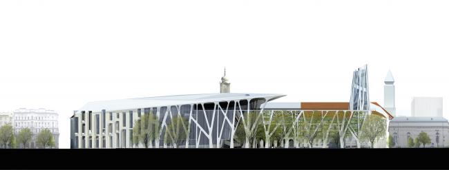 Проект для Новой национальной галереи и Музея Людвига в Будапешете. Фасад © (designed by) Erick van Egeraat