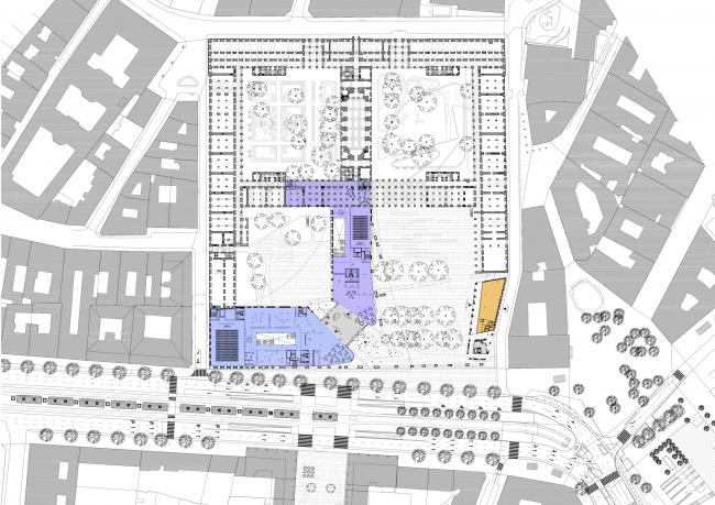 Проект для Новой национальной галереи и Музея Людвига в Будапешете. План главного этажа © (designed by) Erick van Egeraat