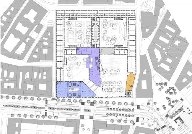 Проект для Новой национальной галереи и Музея Людвига в Будапешете. План 1 этажа © (designed by) Erick van Egeraat