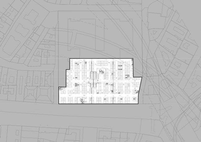 Проект для Новой национальной галереи и Музея Людвига в Будапешете. План подземной парковки © (designed by) Erick van Egeraat