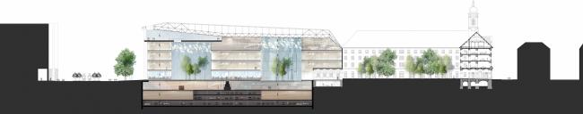Проект для Новой национальной галереи и Музея Людвига в Будапешете. Разрез © (designed by) Erick van Egeraat