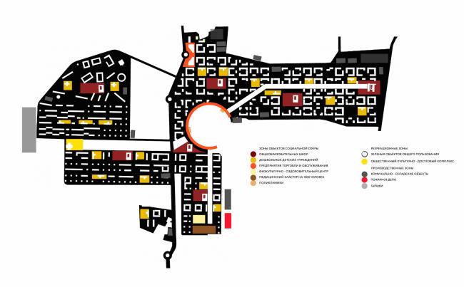 Архитектурно-градостроительное решение по жилой застройке поселения Ильинское. Схема функционального зонировани © ПТАМ Виссарионова