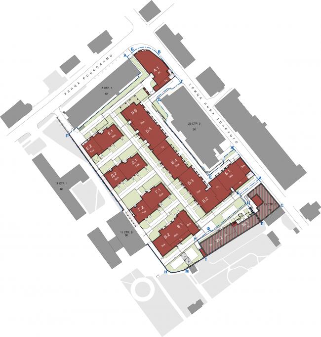 Жилой комплекс на улице Льва Толстого. Генеральный план © «Сергей Киселев и Партнеры»