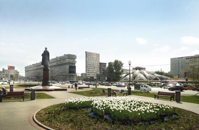 Многофункциональный комплекс на Тульской. Общий вид с площади Серпуховской Заставы. Вариант 1 © ООО «Альянс-Бюро»
