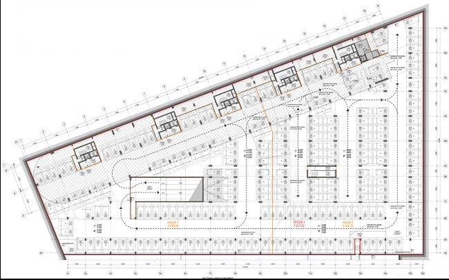 Жилой комплекс «Полуостров Зил». Лот 1. План -1 этажа © Сергей Скуратов ARCHITECTS