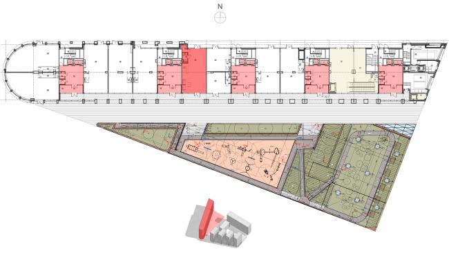 Жилой комплекс «Полуостров Зил». План 1 этажа © Сергей Скуратов ARCHITECTS