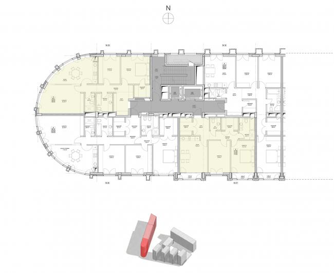 Жилой комплекс «Полуостров Зил». Секция 1. План типового этажа © Сергей Скуратов ARCHITECTS