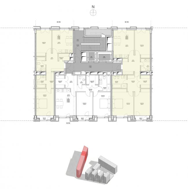 Жилой комплекс «Полуостров Зил». Секция 4. План типового этажа © Сергей Скуратов ARCHITECTS
