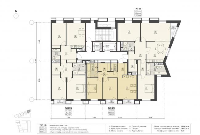 Жилой комплекс «Полуостров Зил». План секции 5 © Сергей Скуратов ARCHITECTS