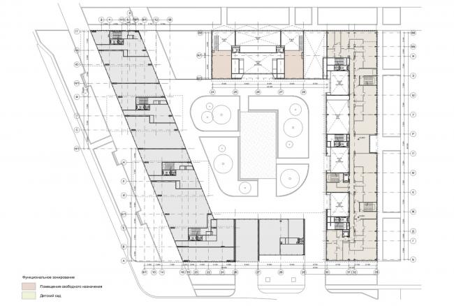 Жилой комплекс «Полуостров Зил». Схема функционального зонирования (лот 2). Концепция 2014 года © Сергей Скуратов ARCHITECTS