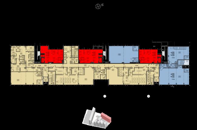 Жилой комплекс «Полуостров Зил». Секция Е. План 1 этажа © Сергей Скуратов ARCHITECTS