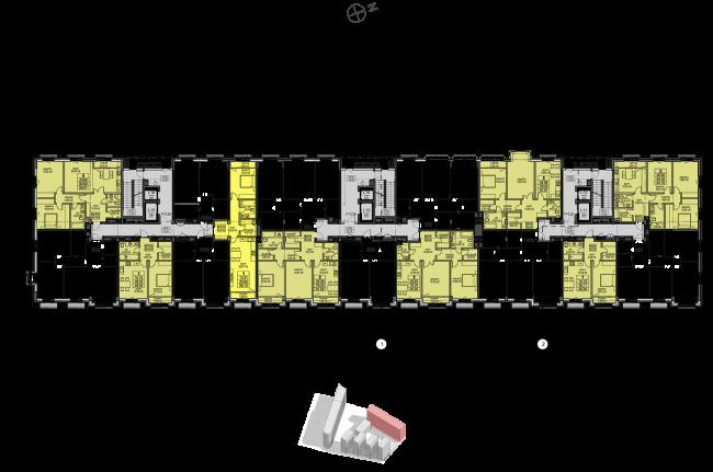 Жилой комплекс «Полуостров Зил». Корпус Е. План 7-13 этажа © Сергей Скуратов ARCHITECTS