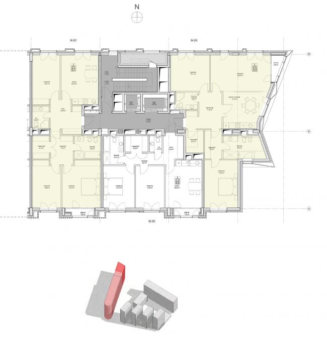 Жилой комплекс «Полуостров Зил». Секция 5. План типового этажа © Сергей Скуратов ARCHITECTS