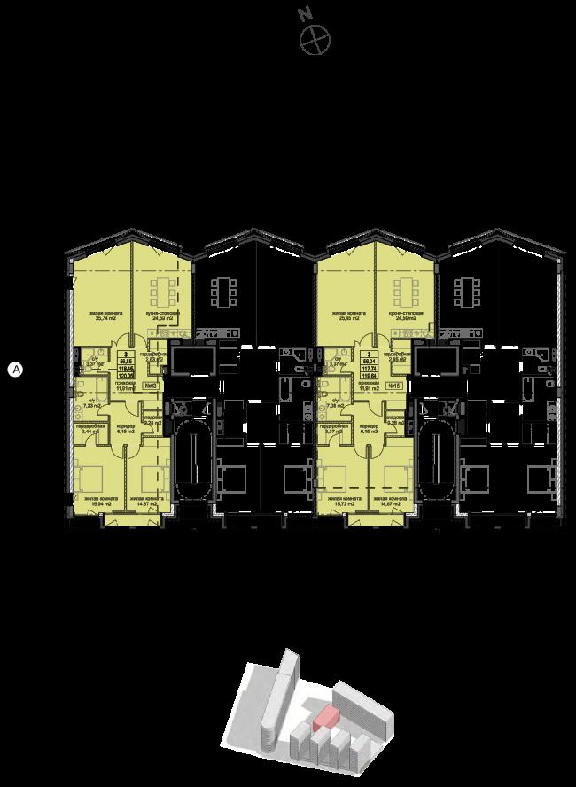Жилой комплекс «Полуостров Зил». Корпус Д. План типового этажа © Сергей Скуратов ARCHITECTS