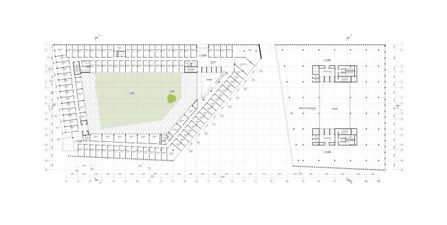 Штаб-квартира Олимпийского Комитета России. План 4 этажа. Слева кабинеты ОКР, справа open space будущего инвестора © TПО «Резерв»