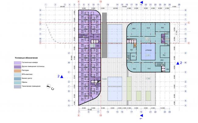 Гостиничный комплекс RADISSON BLU MOSCOW RIVERSIDE HOTEL&SPA. План 4-6 этажей © Архитектурное бюро Асадова; ГрандПроектСити; МАХПИ